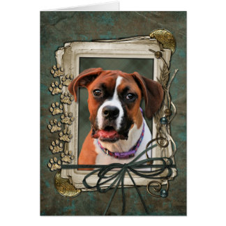 Stone Paws - Boxer - Lucy Greeting Card
