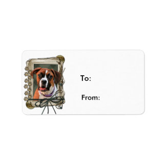 Stone Paws - Boxer - Lucy Personalized Address Label