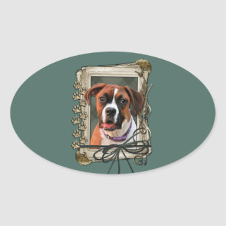 Stone Paws - Boxer - Lucy Oval Sticker