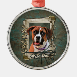 Stone Paws - Boxer - Lucy Round Metal Christmas Ornament