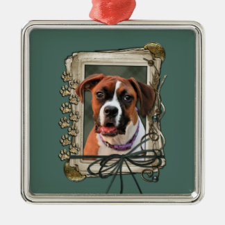 Stone Paws - Boxer - Lucy Square Metal Christmas Ornament