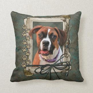 Stone Paws - Boxer - Lucy Throw Pillows