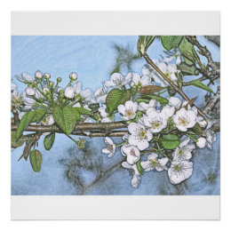 Stone Pear in Bloom Poster