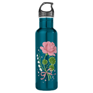 Stone Rose (pink/turquoise) Stainless Steel Water Bottle