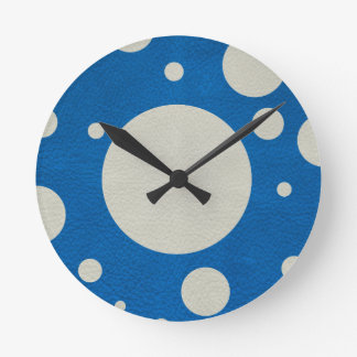 Stone Scattered Spots on Lapis Leather Texture Round Wall Clock