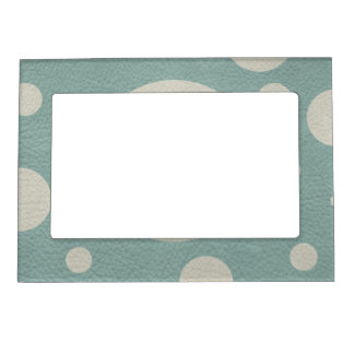 Stone Scattered Spots on Mint Leather Texture Magnetic Photo Frame