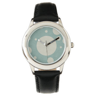 Stone Scattered Spots on Mint Leather Texture Wristwatch