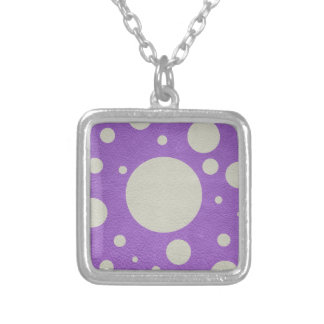 Stone Scattered Spots on purple Leather Texture Silver Plated Necklace