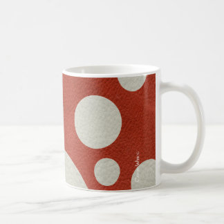 Stone Scattered Spots on Red Leather Texture Classic White Coffee Mug