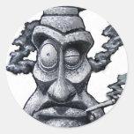Stone Smoker Tiki Man Round Stickers