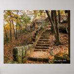 Stone Stairway in autumn - Heavener, Oklahoma. Poster