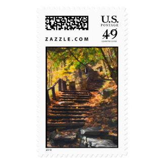 Stone Stairway In Autumn Postage