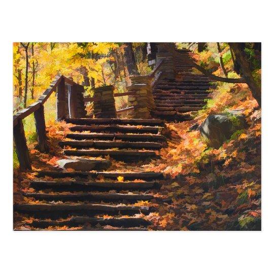 Stone Stairway In Autumn Postcard
