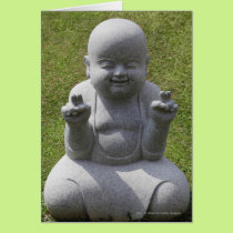 Stone statue of happy Buddha Card
