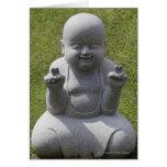 Stone statue of happy Buddha Greeting Card
