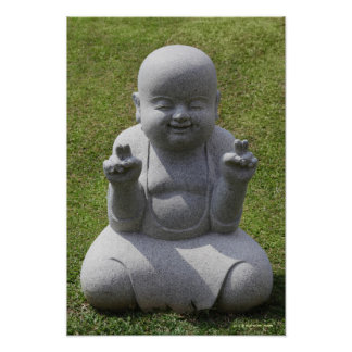 Stone statue of happy Buddha Poster