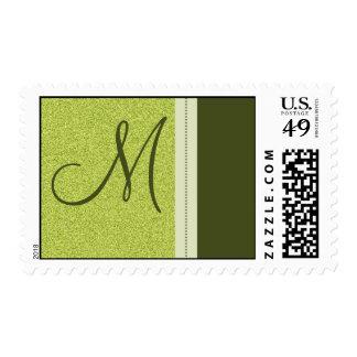 Stone Textured Lime Designer Monogram Postage