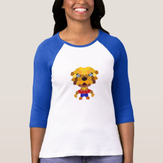 Stone the Lion Dog Ladies 3/4 Sleeve Raglan, Wh/Bl T Shirt