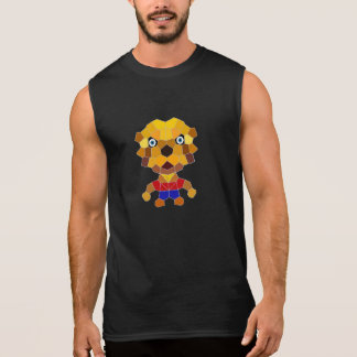 Stone the Lion Dog Men's Sleeveless T-Shirt, Black Sleeveless T-shirt