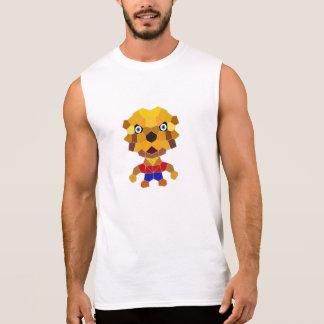 Stone the Lion Dog Men's Sleeveless T-Shirt, White Sleeveless T-shirts