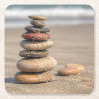 Stone Tower On Beach Square Paper Coaster