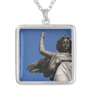 Stone Tranquility ~ Angel Pointing to Heaven Square Pendant Necklace