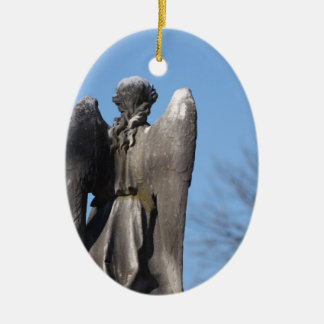 Stone Tranquility ~ Behind the Winged Angel Double-Sided Oval Ceramic Christmas Ornament