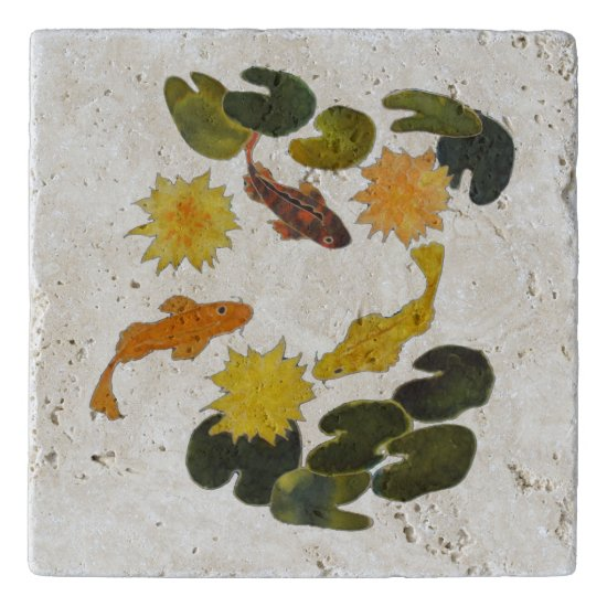 Stone Trivet - Lily Pond and Koi