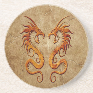 Stone Twin Dragons Drink Coaster