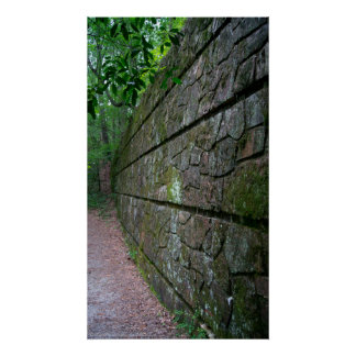 Stone Wall Along the Forest Trail Poster