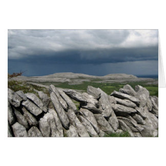 Stone wall at the Burren, Co. Clare, Ireland Card