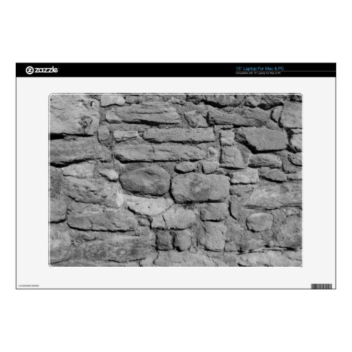 """Stone Wall. Black and white. 15"""" Laptop Skins"""