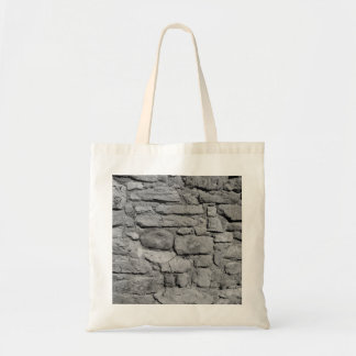 Stone Wall. Black and white. Tote Bags