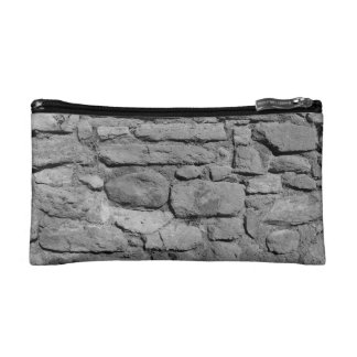 Stone Wall. Black and white. Makeup Bags