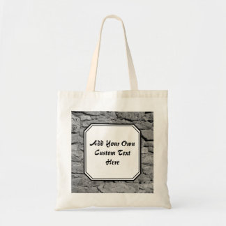Stone Wall. Black and white. Custom Text. Bags