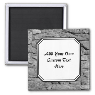 Stone Wall. Black and white. Custom Text. Refrigerator Magnets