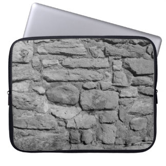 Stone Wall. Black and white. Laptop Computer Sleeves