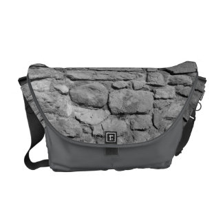 Stone Wall. Black and white. Commuter Bag