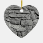 Stone Wall. Black and white. Christmas Tree Ornament