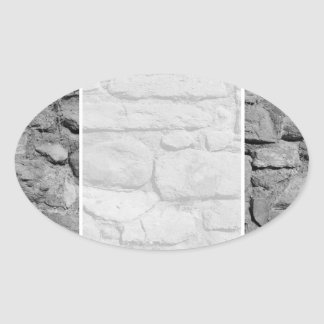 Stone Wall. Black and white. Oval Sticker