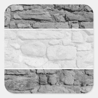 Stone Wall. Black and white. Square Sticker