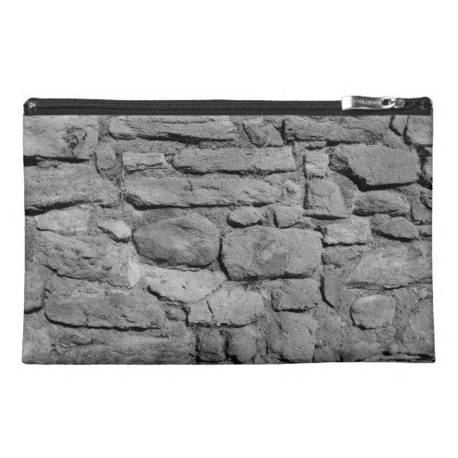 Stone Wall. Black and white. Travel Accessory Bag