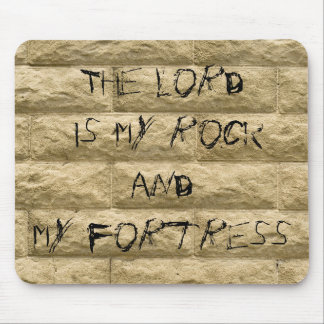 stone wall graffiti... The Lord is my rock Mouse Pad
