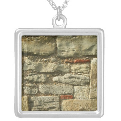 Stone Wall Image. Square Pendant Necklace