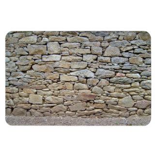 Stone Wall In Grassy Landscape Rectangular Magnet