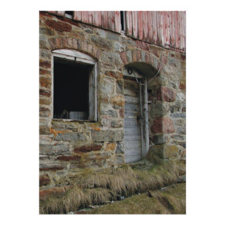 Stone Wall old Barn Print