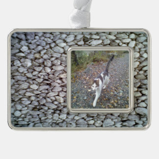 Stone wall silver plated framed ornament