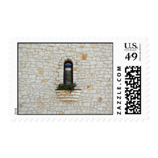 Stone wall with flowers stamps