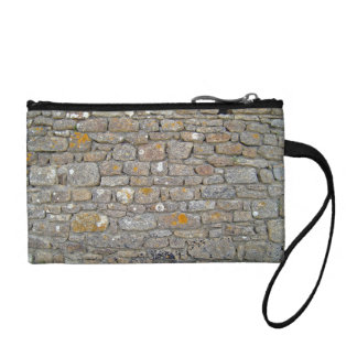 Stone Wall With Holes And Some Lichens Coin Wallet