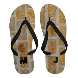 Stone wall with monogram Flip-Flops